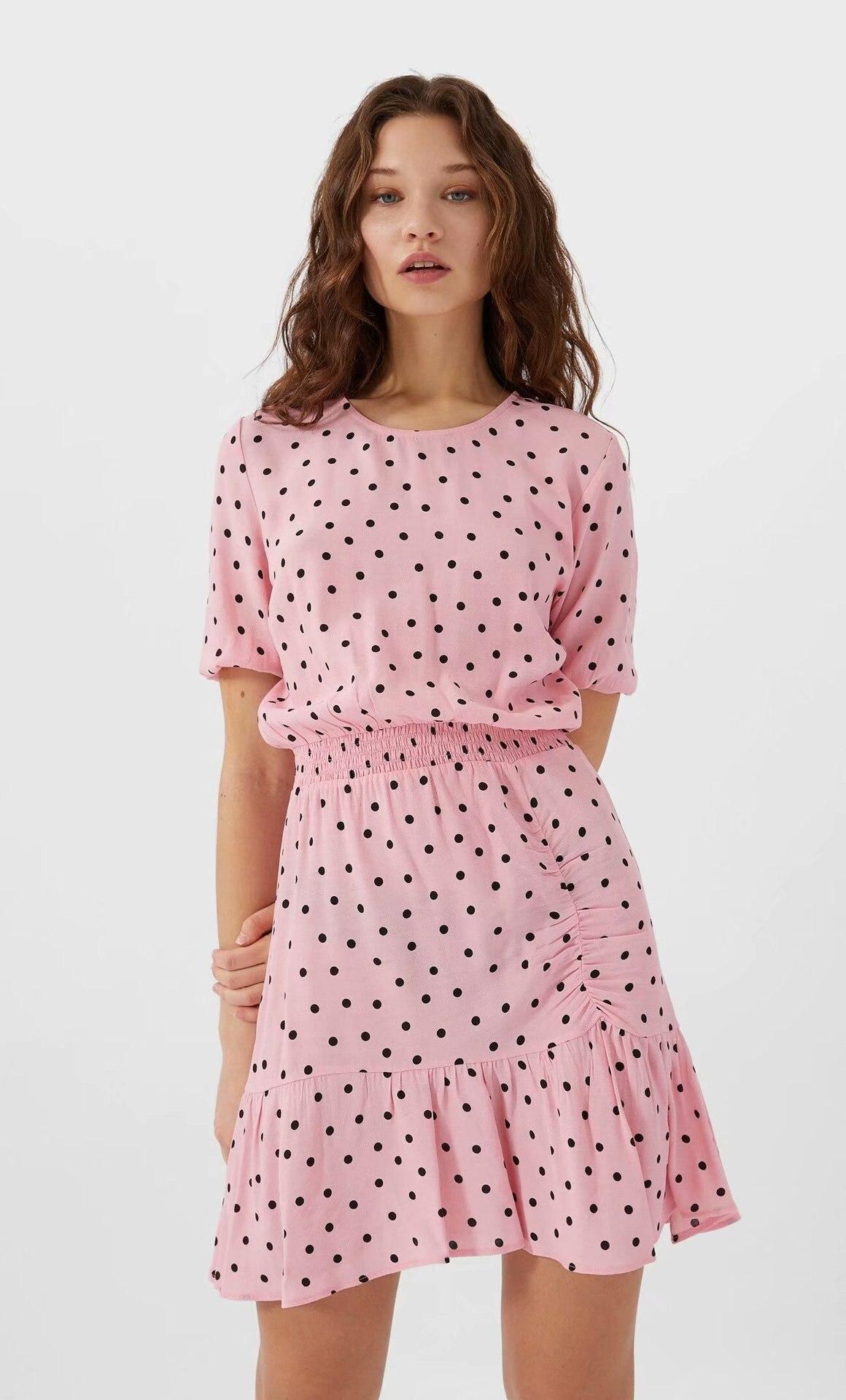 2020 Spring Summer New Flounced Hem Polka Dot Pink Short Zaraing Women Dress Vadiming Sheining Female Sexy Vintage Dress XDN9544