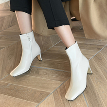 Plus Size 34-43 High Quality Women Ankle Boots Zip Square Toe Footwear Genuine Leather High Heels Female Boots Party Shoes Women