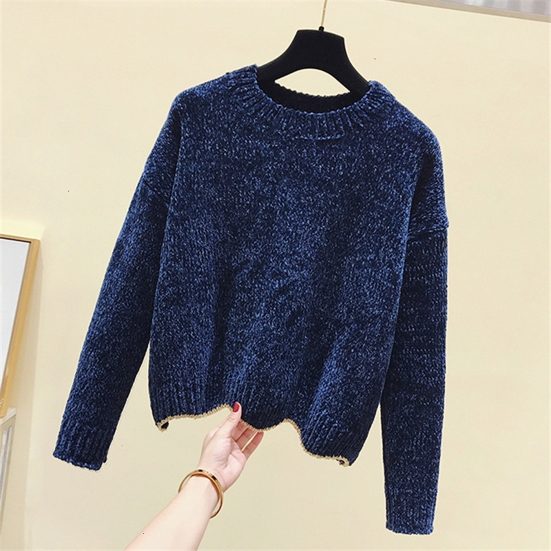 Solid Loose All Match Jumper O-Neck Knitted Sweater Pullover Autumn Knitwear Long Sleeve Pull Femme Women New 2019 Fashion Warm