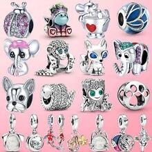 925 Sterling Silver Turtle Llama Snake Fox Bulldog Dangle Charm Koala Elephant Beads Fit Original Pandora Bracelet Jewelry Gift