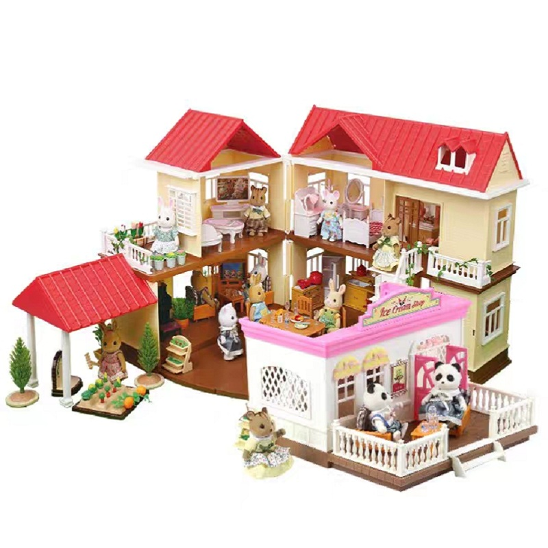 Forest Animal Villa Set DIY Toy Simulation Furniture Bedroom Set Table Chair Toy Girl Play House Toys Family Model Children Gift