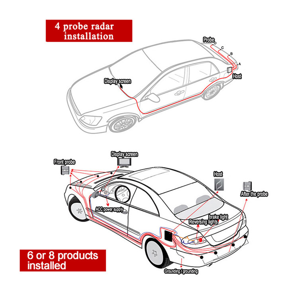 Auto Parkplatz Sensor Summer Parktronic Display 4 Sensoren Reverse Backup Unterstützung Radar Detektor Auto LED Licht Monitor System