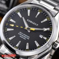 Corgeut 41mm Sapphire kristall Leucht automatische männer casual uhr schwarz zifferblatt stahl armband wasserdicht mechanische männer uhr-in Mechanische Uhren aus Uhren bei