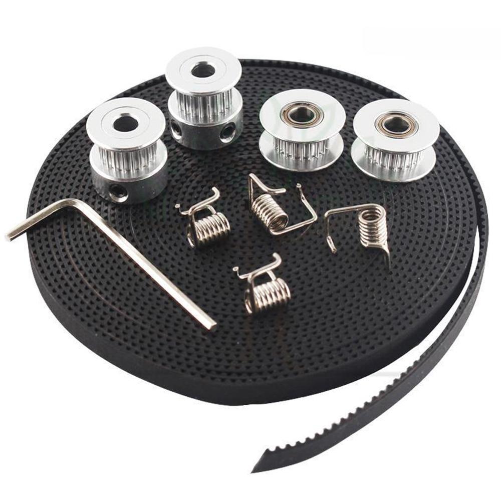 2M GT2 6mm Timing Belt + 2x 2GT Timing Pulley 20 Teeth 5mm Bore + 2x Idler Pulley 20 Teeth 5mm Bore + 4xTensioner For 3D Printer