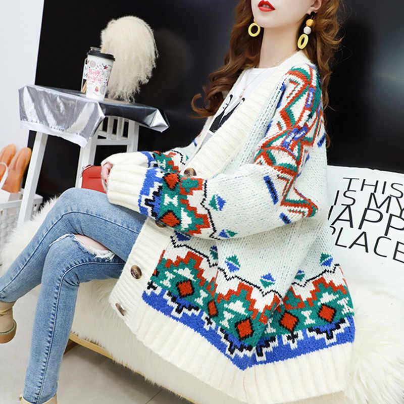 Чистый красный свитер кардиган женский свободный средней длины осеннее платье новый стиль ленивый ветер куртка, фея трикотажная куртка