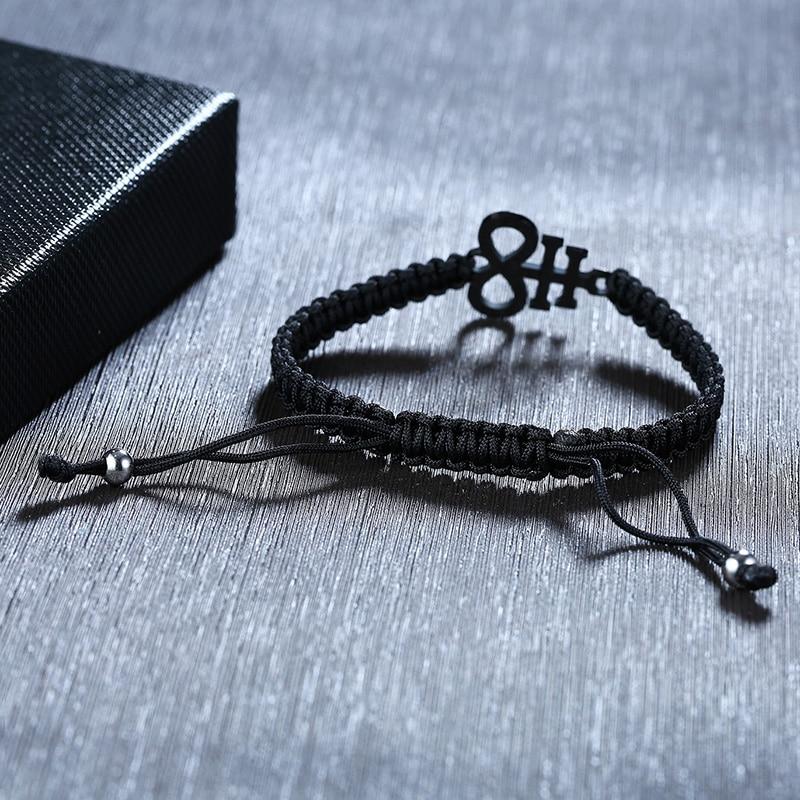 Image 5 - Браслет цепочка из нержавеющей стали с Люцифером Левиафаном и  крестиком из черной плетеной веревки для женщин и мужчин, регулируемая  длина, молитва, ювелирные изделияЦепочки и браслеты