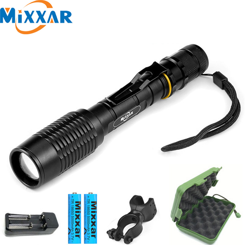 ZK20 LED Flashlight V5 T6 5-Modes Zoom Dropshipping Torch Tactical Flashlights Lamp Can Be Used With Two 18650 Batteries Lantern