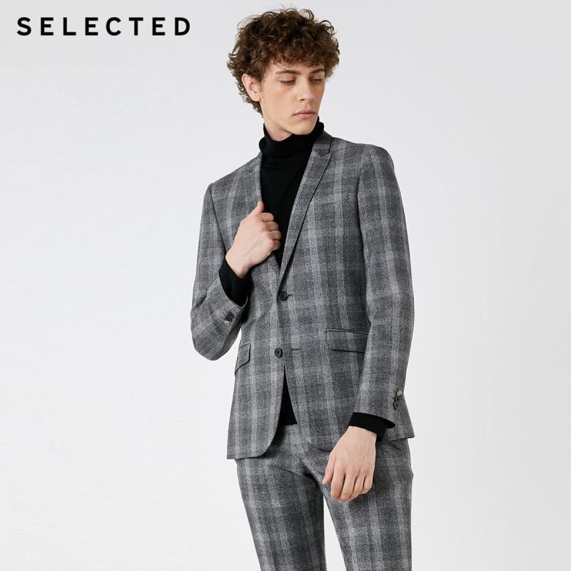 SELECTED Men's Slim Fit Closure Collar Plaid Woolen Blazer S|41845Z502