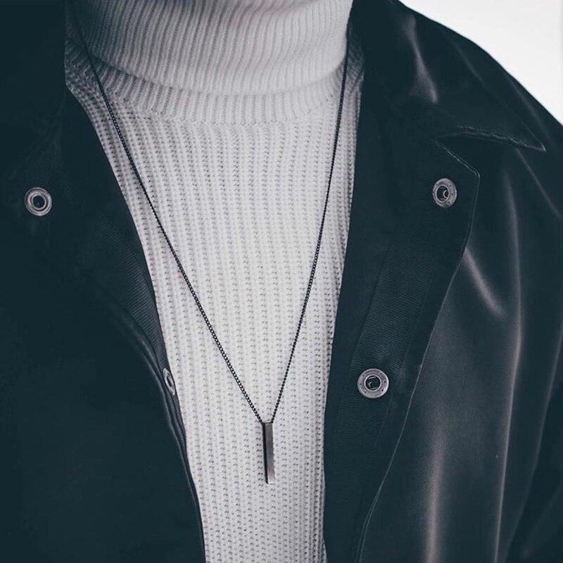2020 caldo di Modo di Rettangolo Degli Uomini Del Pendente Della Collana Classic In Acciaio Inox Catena Cubana Collana Per Gli Uomini del Regalo Dei Monili 2