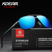 KDEAM Brand Fashion Men Square Metal Sunglasses HD Polarized Lens Vintage Eyewear Accessories Fishing Sun Glasses For Women
