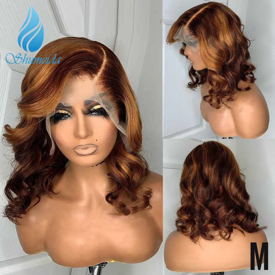Highlight Color 13*6 Lace Front Human Hair Wigs 150% Density Brazilian Remy Hair Loose Wave Glueless Lace Wig Baby Hair