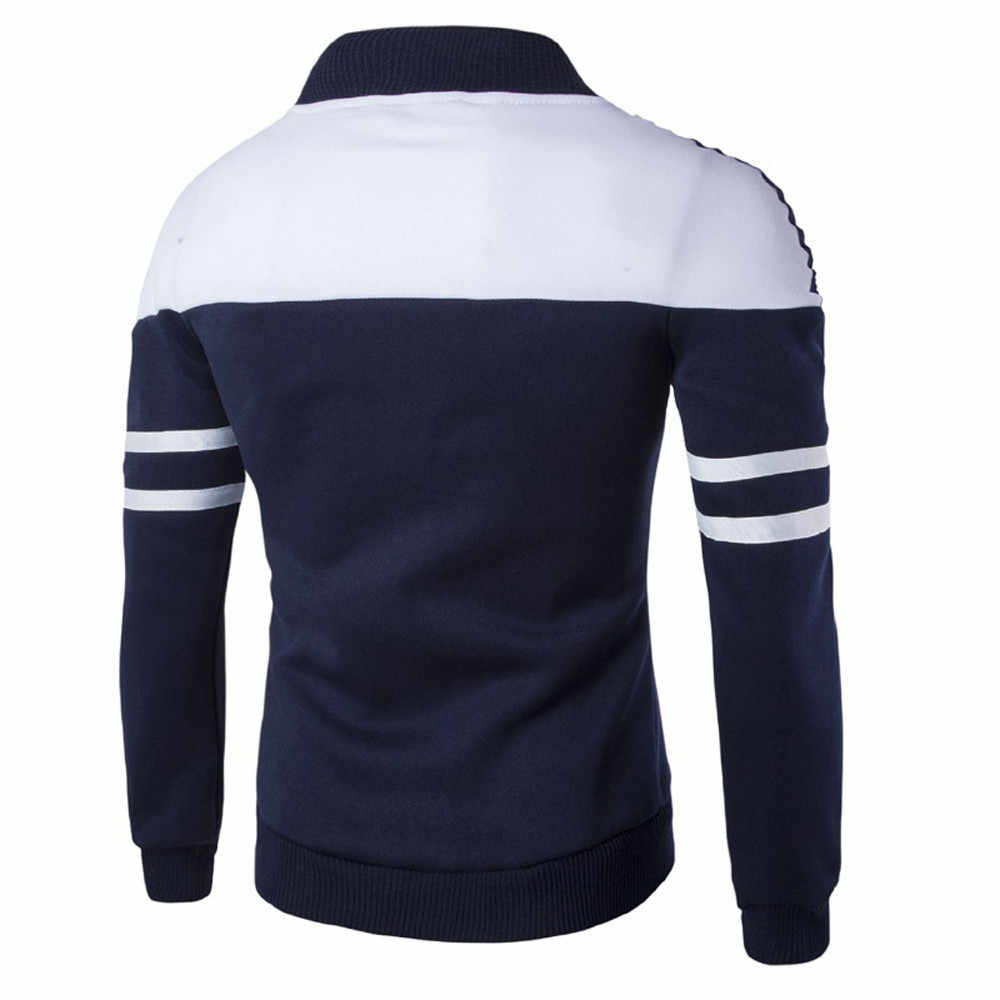 SAGACE erkek ceket moda erkek sonbahar kış rahat ince dış giyim fermuar spor Patchwork ceket uzun kollu ceket #45