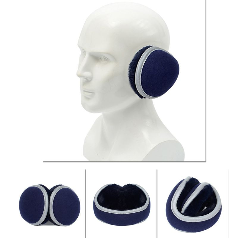 Unisex Winter Polar Fleece Earmuffs With Reflecitve Strip Plush Lining Ear Cover 95AB