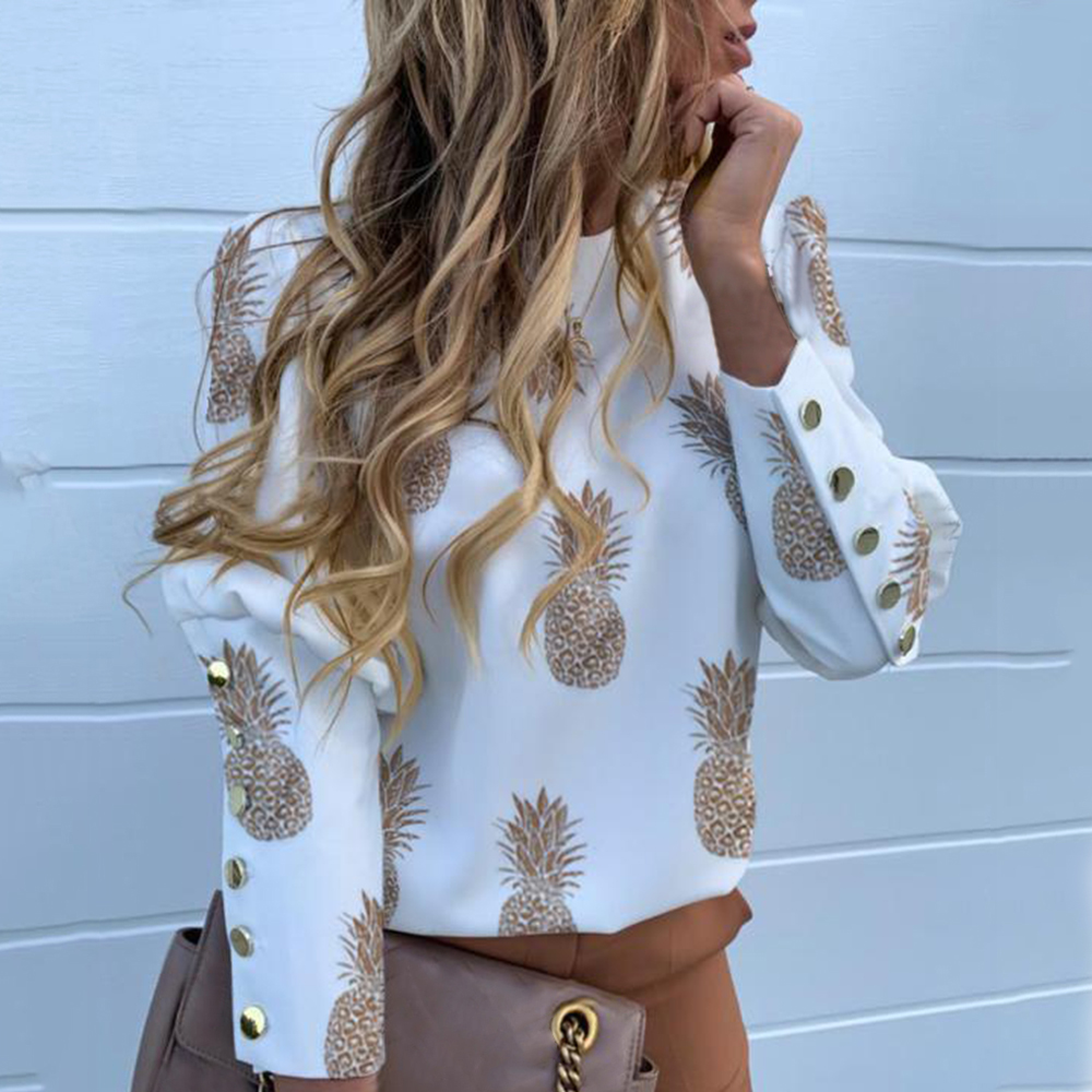Puff Shoulder Blouse Shirts Office Lady New Autumn Metal Buttoned Detail Blouses Women Pineapple Print Long Sleeve Top image