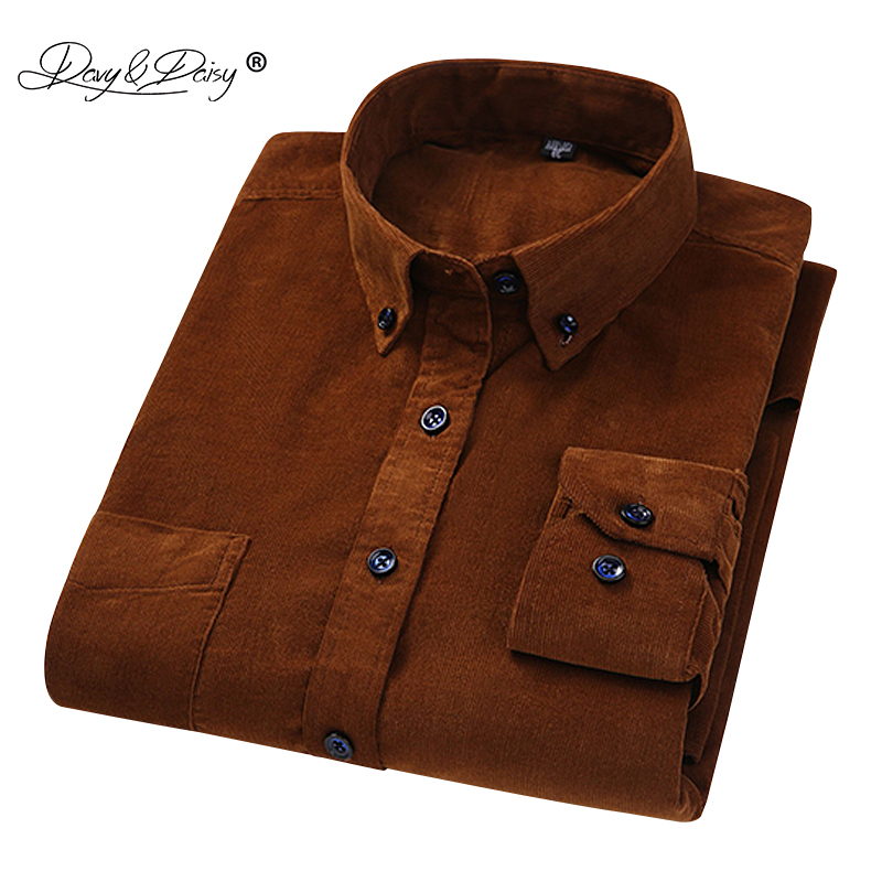 DAVYDAISY 2019 New Arrival Fashion 100% Cotton Corduroy Men Shirt Long Sleeved Casual Gentleman Man Shirts Male Brand DS229