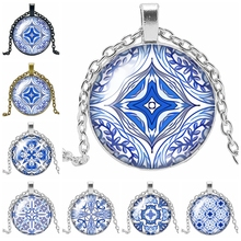 2019 Latest White Porcelain Petal Kaleidoscope Series Glass Convex Pendant Necklace Fashion Jewelry Gift цена