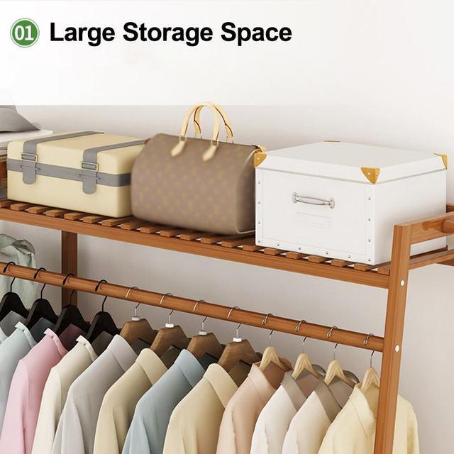 Bamboo Clothes Coat Rack w/ Storage  2