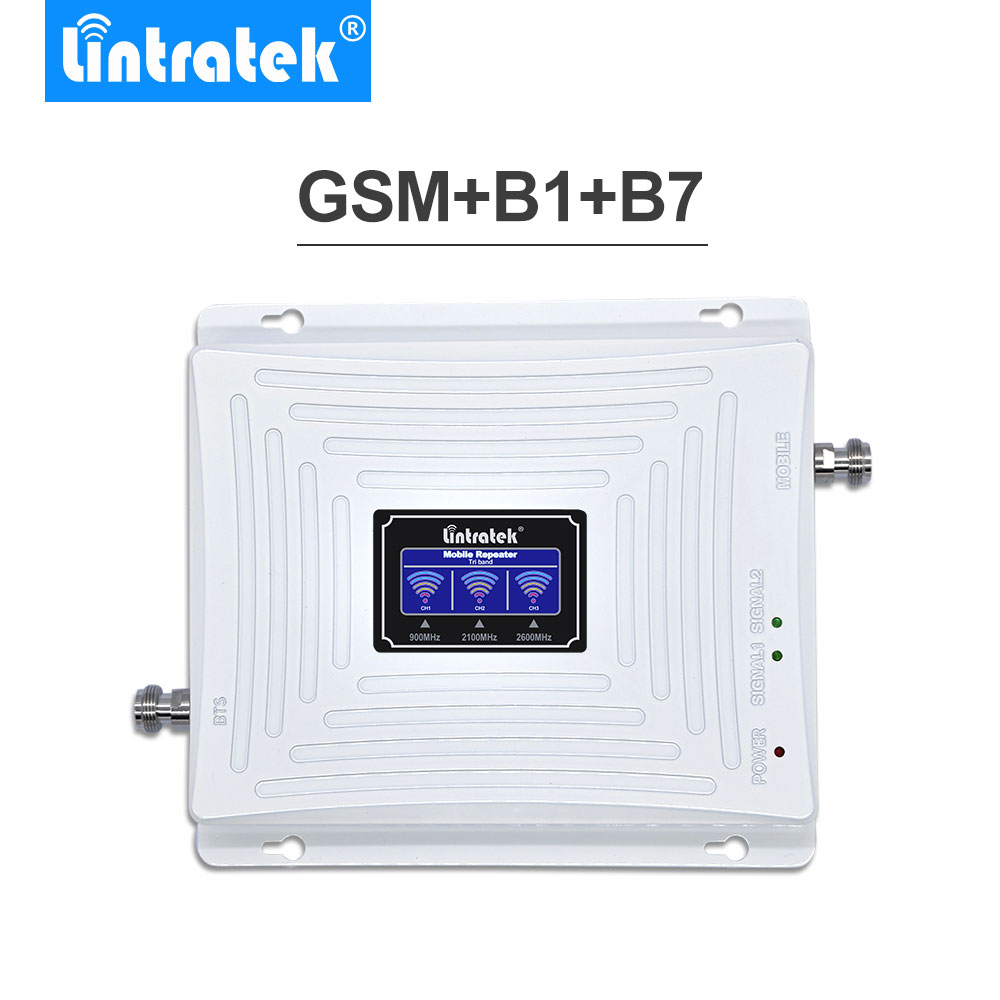 Lintratek Amplificateur GSM 2G 3G 4G LTE 2600MHz UMTS 2100MHz GSM 900MHz LCD Tri Band Mobile Cellular Signal Booster Repetidor .