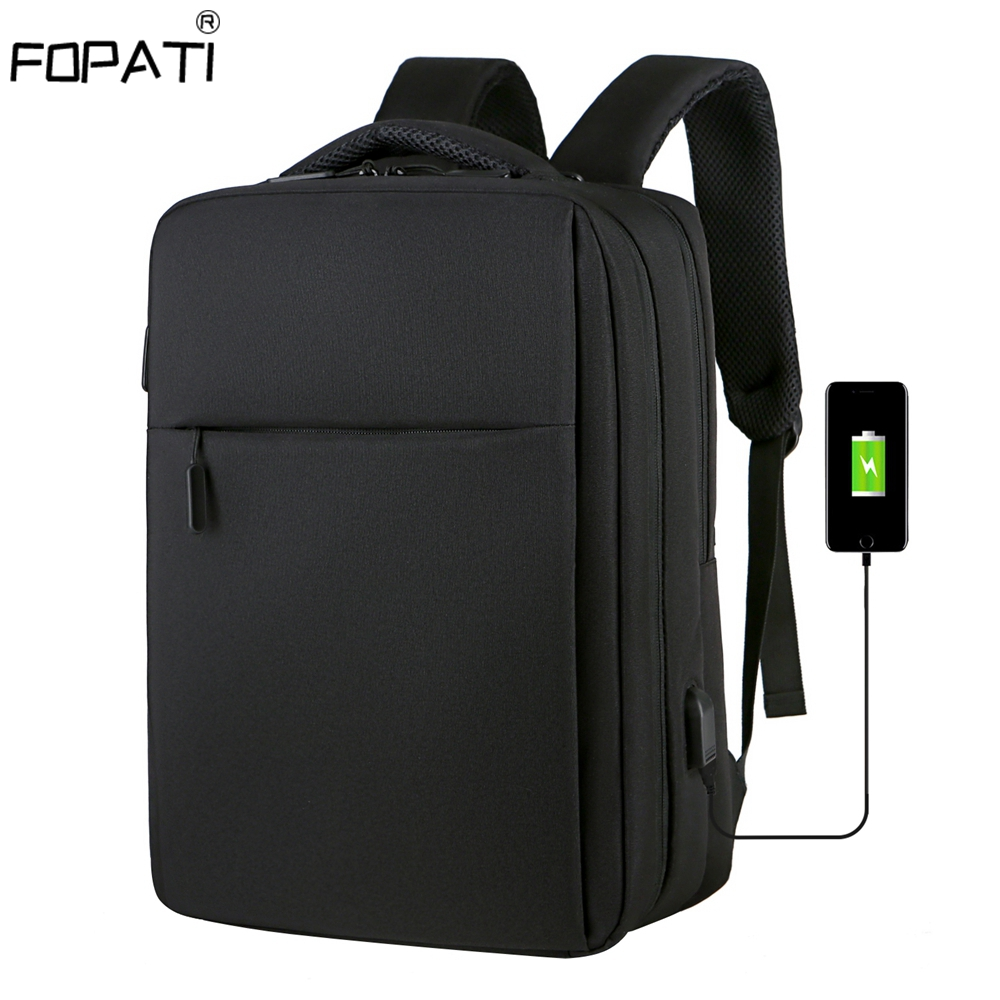 Anti Theft 17.3 Inch Backpack Men USB Charging Laptop Backpack School Bag Waterproof Travel Bag 15.6 School Backpacks For Teens image