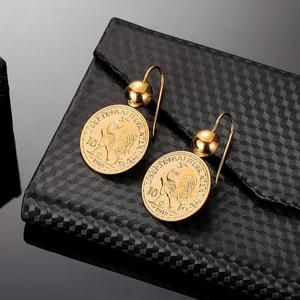 Image 5 - Винтажные висячие серьги подвески с гравировкой монеты для женщин 10 монета Франк круглая серьга Подвеска Серьги Прямая поставка