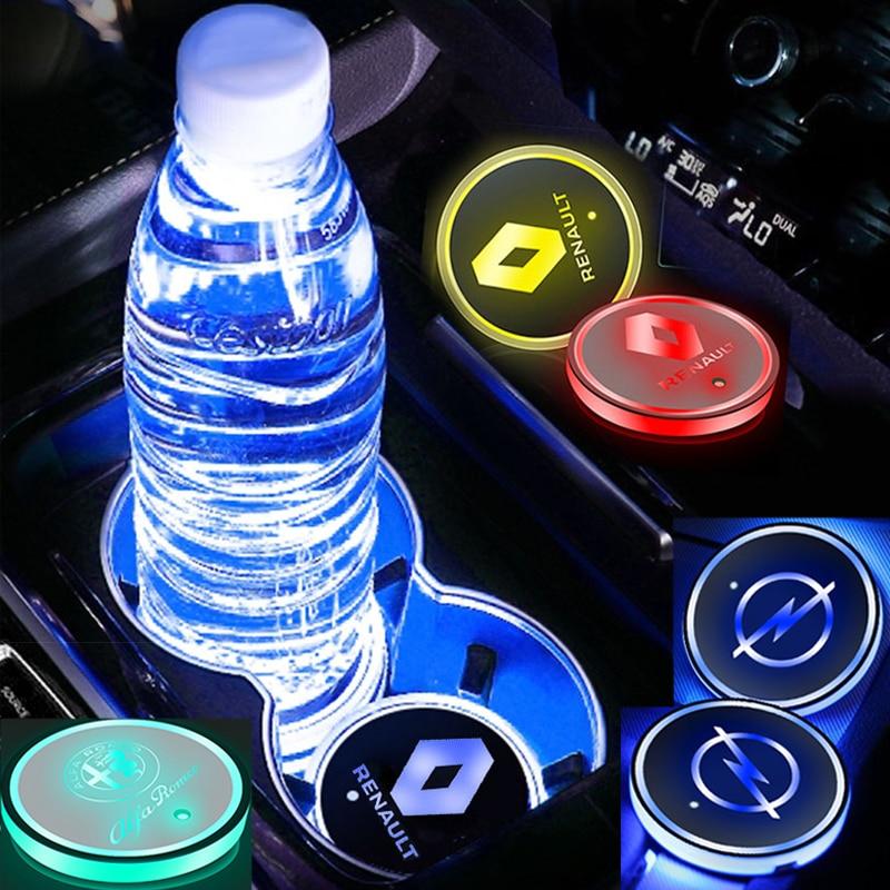 1pcs Car LED Light Water Coaster Car Acrylic Cup Mat Auto Goods for VWs Volkswagens Polo Golf 7 6 5 4 MK7 MK5 Passat B6 Touran
