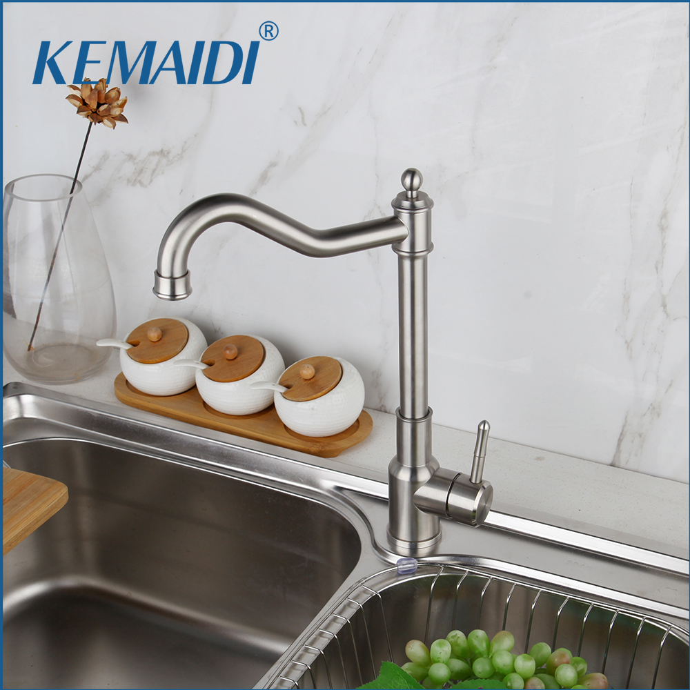 KEMAIDI Kitchen Faucet Brushed Process Swivel Basin Faucet 360 Degree Rotation Hot & Cold Water Mixers Tap Hot And Cold  Mixer