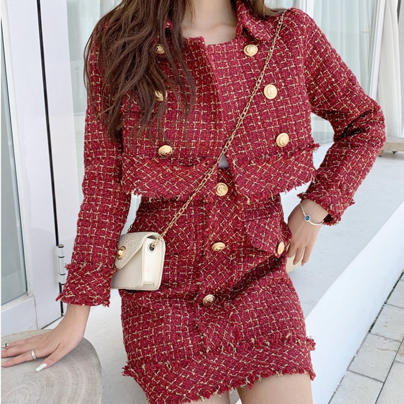 2019 Women Retro Tweed Jacket A-line Skirt Two Piece Set Ladies Runway Spliced Plaid Gold Trim Short Coats Skirts Outfits Suits