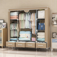 Non Woven Fabrics Wardrobe Coffee Fabric Closet Portable Folding Dust proof Waterproof Storage Cabinet Bedroom Home Furniture