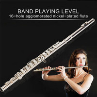 16 Holes C Key Flute Nickel Plating Flutes for Beginner Band Performance Grading Test Woodwind Instrument Musical Instrument