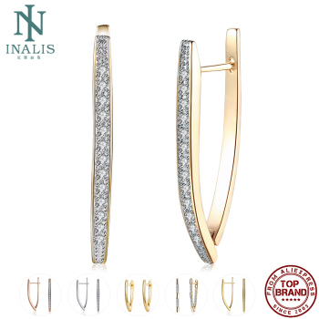 INALIS Stud Earrings Hot Luxury V Shape Earrings Golden/Silver/Rose Gold Colors 5A Cubic Zirconia Stud Earring For Women Jewelry