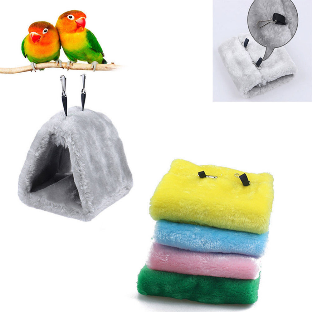 Soft Plush Snuggle Hanging Cave Parrot Swing Toy Cage Hammock Pet Bird Bunk Bed