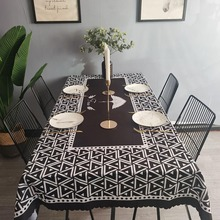 Geometric black Tablecloth Cotton Hotel Picnic Table Rectangular Table Covers Home Dining Tea Table Decoration Lace Tassel