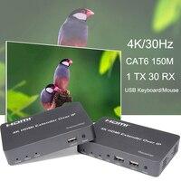 4 k hdmi extensor sobre tcp ip suporte gigabit poe rede switch cat5e usb mouse teclado kvm até 150 m cat6 a 30 receptor