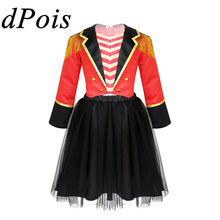 DPOIS Kids Meisjes Circus Circusdirecteur Halloween rollenspel Kostuum Kind Fancy Party Rave Jurk Up Jacket & Stain Tutu rok Pak(China)