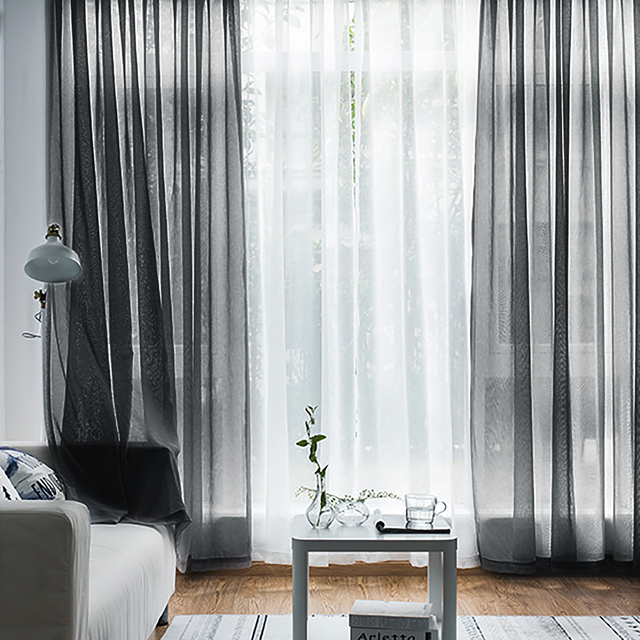 Modern Nordic Sheer Tulle Window Curtains Solid White Gray Black Screening Voile Drapes Living Room Home Decor Furniture Cover 6