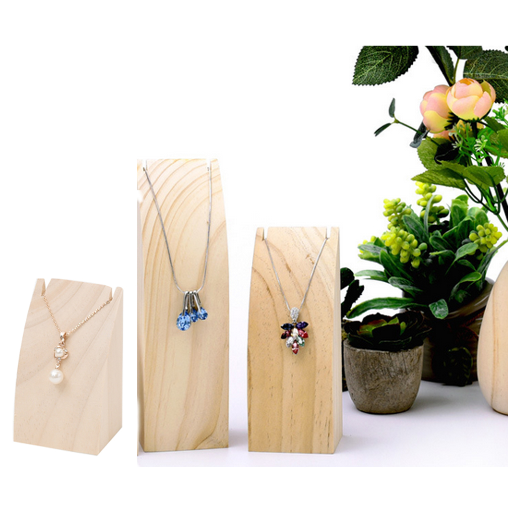1 Piece Natural Solid Wood Jewelry Necklace Chain Pendant Display Stand Organizer Rack Store Showcase Show Shelf S/M/L Size