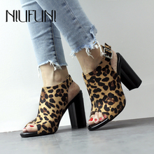 New Arrival Peep Toe Sexy Suede Leopard Womens Sandals Expose Heel Belt Buckle High Heels Women Casual Shoes Sandalias De Mujer