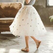 New Girls Sequin Skirt Spring 2020 Shining Star Mesh Long Princess Tutu
