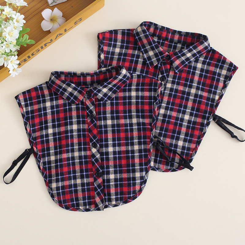 2019 New Womens Removable Plaid Designer Fake Kraag Shirt Blouse False Collar Col Chemise Ladies Peter Pan Detachable Collars