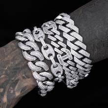 2021 15mm de ancho Hip Hop cadena de eslabones cubanos superllamativas pulsera para hombres y mujeres nueva moda helado 5A Cubic Zirconia joyería Bling