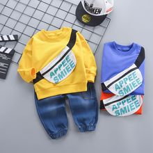 цена на New New Baby Boy Clothes Letter Print Round Neck Long Sleeve Children's Set Fashion Trend Top Jeans Cute 2pcs 0-4T Toddler Set