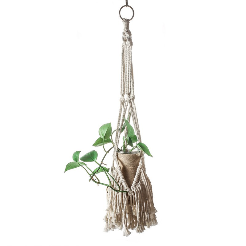 Макраме цветочный горшок держатель корзина богема хлопок тканый стена подвесной цветок горшок дисплей аксессуары интерьер сад декор принадлежности