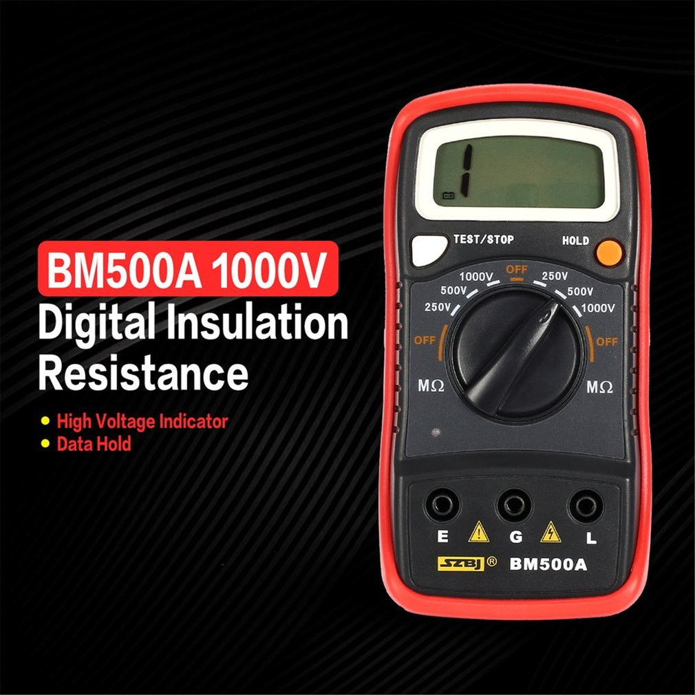 BM500A Digital Megger Multimeter Voltmeter 1000V Auto Range Insulation Resistance Ohm Meter Tester Megohmmeter LED Indication
