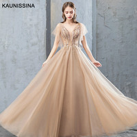 KAUNISSINA Long Prom Dresses Gold Evening Dress Appliques Sexy V Neck Floor Length Party Gown A Line Tulle Formal Robe Vestidos