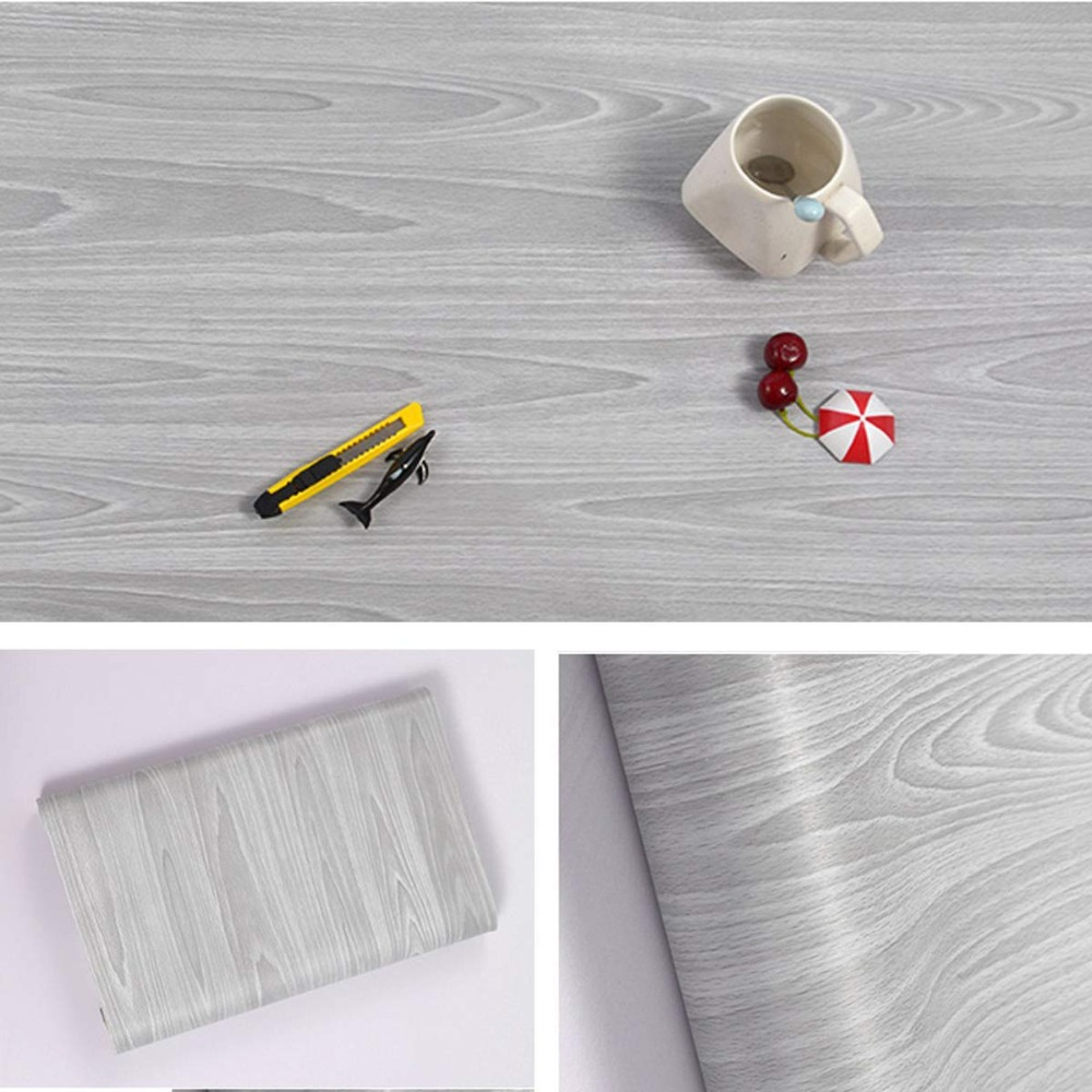 White Wood Contact Paper Self Adhesive Wallpaper Peel and Stick 45cm X 10m Wood Removable Decorative Vinyl Stickers For Furniture Wall Door Removable Wallpaper