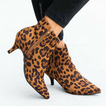 Buy Vintage Leopard Womens Low Kitten Heel Ankle Boots Ladies Pointy Toe Side Zipper Booties Outdoor Party Shoes directly from merchant!