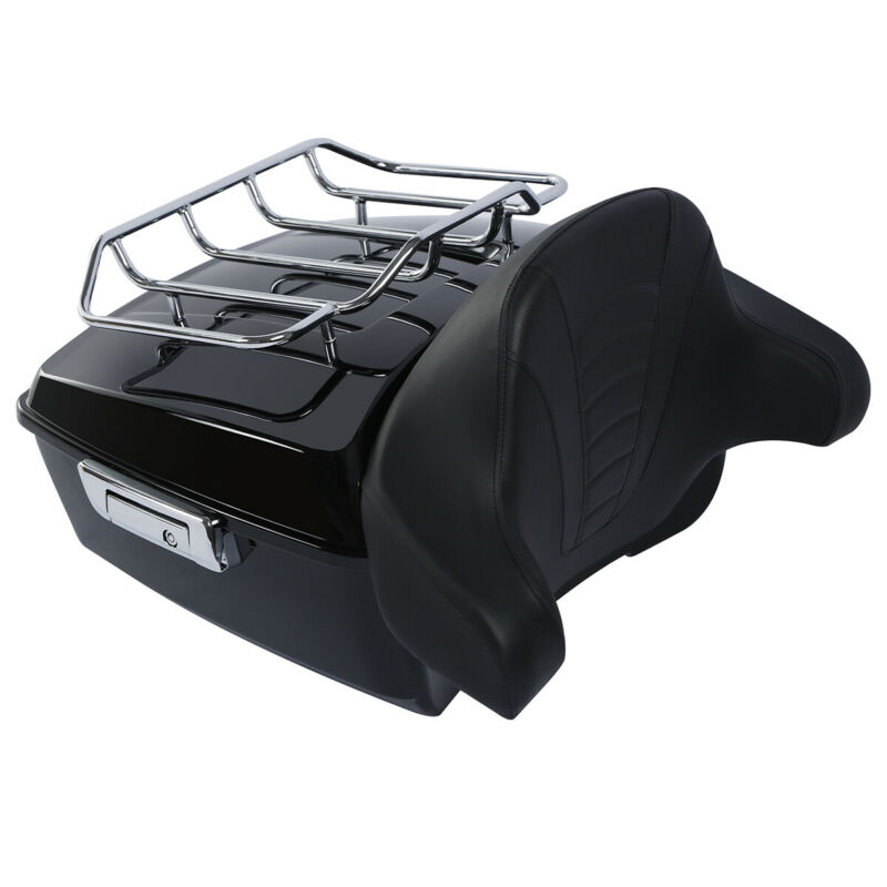 """Image 3 - Motorcycle 13.7"""" King Tour Pack Trunk Rack Backrest For Harley Touring Road King Electra Street Glide FLHTCU FLHRC 2014 2019-in Motorcycle Trunk from Automobiles & Motorcycles"""