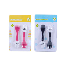 Creative Childrens Fork Spoon PP Cartoon Cute Palm Two Pieces Outdoor Portable Tableware