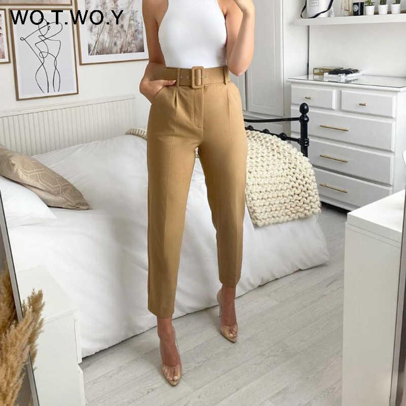 Wotwoy Pantalones Elegantes Formales Altos Para Mujer Pitillos Ajustados De Oficina Con Bolsillos Y Fajas Longitud Hasta El Tobillo Pantalones Y Pantalones Capri Aliexpress