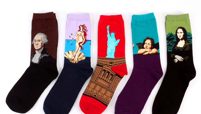 He14277c180d5487788aa48beabe2c07bj - Classic Autumn Winter Retro Women Personality Art Van Gogh Mural World Famous Painting Female Socks Oil Happy Socks